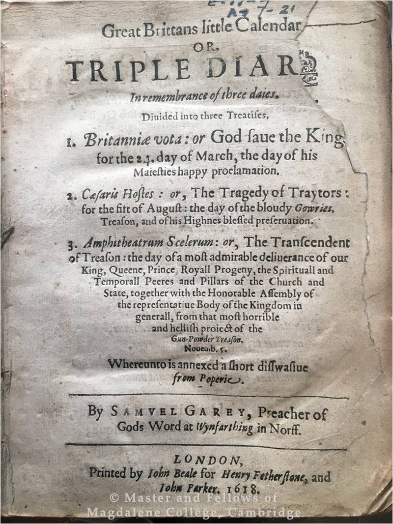 Great Brittans little calendar: or, Triple diarie by Samuel Garey, London, 1618, Old Library