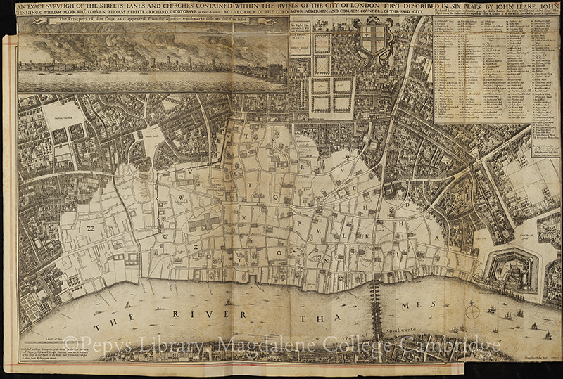 Map of London showing London after the Great Fire, by Wenceslaus Hollar