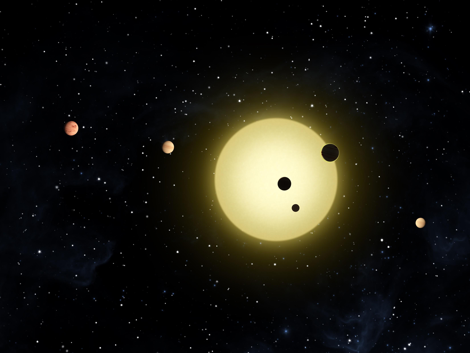 The Kepler-11 exoplanet system, discovered by NASA's Kepler Space Telescope. This artist's conception shows the system's six planets orbiting close to their parent star. Over the past few years, thousands of diverse exoplanets have been identified outside of our solar system. Stars and their orbiting planets appear to form simultaneously in dense interstellar clouds of gas and dust. Image credit: NASA/Tim Pyle