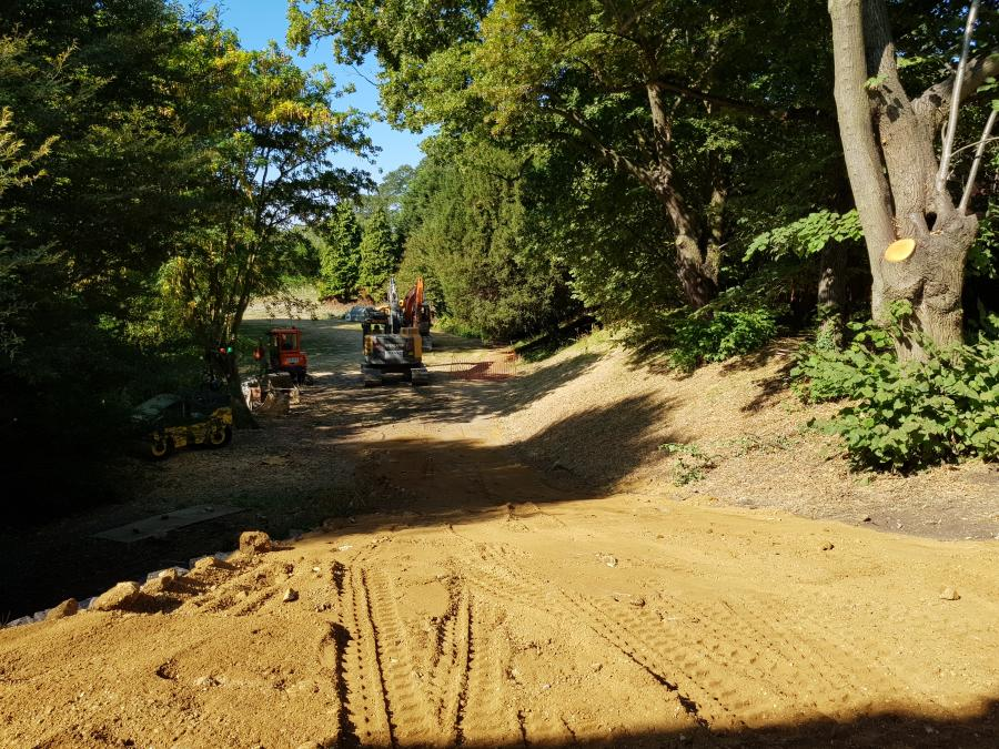 Library access road construction