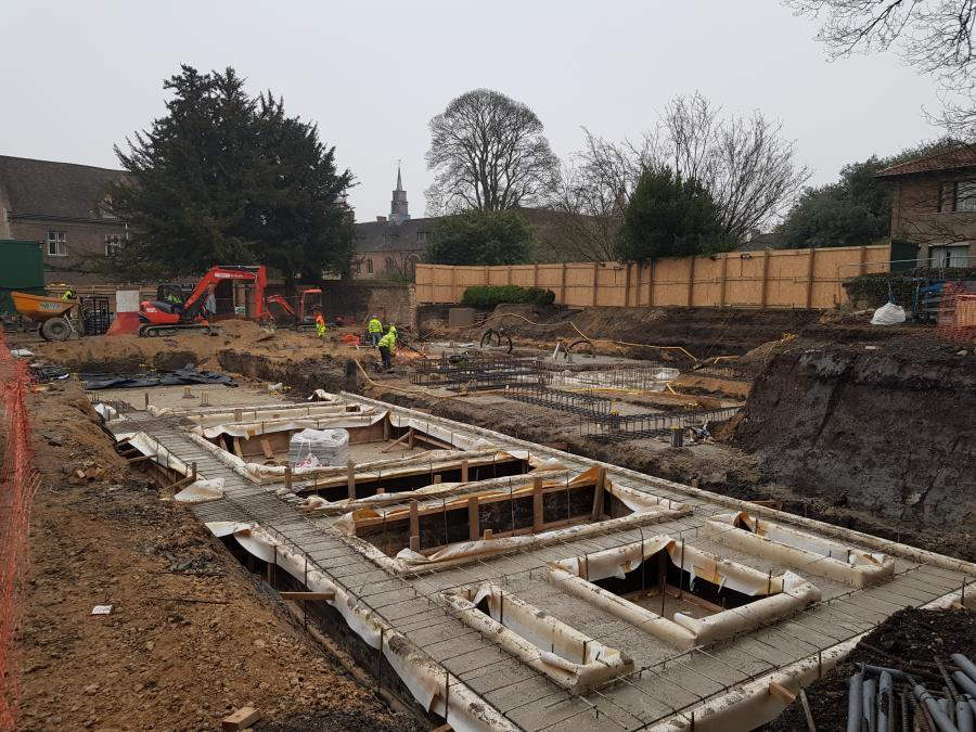 Magdalene College Cambridge, New Library Building, Construction of foundations