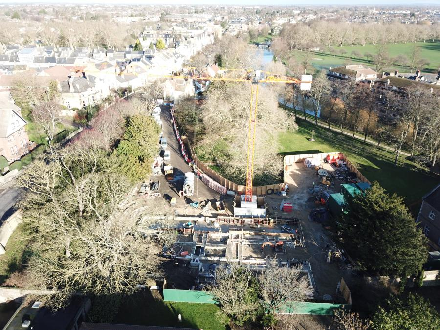 Magdalene College Cambridge  New Library Build Drone Jan 2019