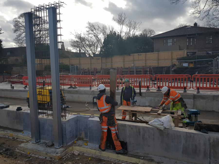Magdalene New Library Building Construction Box work for concrete pillars February 2019