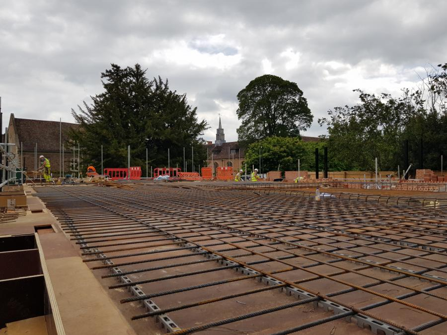 Magdalene Library Build Second Floor Steelwork Prep May 2019