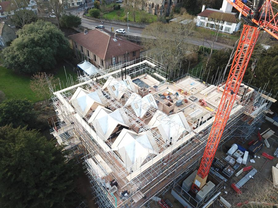 Magdalene Library Build December 2019 Drone Roof Construction
