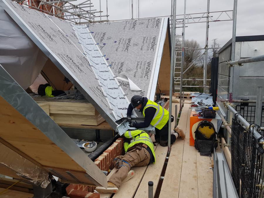 Magdalene Library Build January 2020 Zinc Roofing